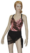 Carol Wior Swimsuit Pink Leopard w/attached Sarong, Tummy Control NWT  31164-PL