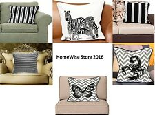 """Decorative Trendy 100% Cotton Black and White Cushion Cover pillow case 18x18"""""""