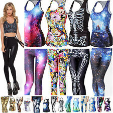 WomenS Gothic Punk 3D Digital Print T-Shirt Tank Top Vest Skinny Leggings Pants