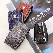 4Button Stitched Smart Key Leather Case Cover Holder Pouch Hook BC-3 for HYUNDAI