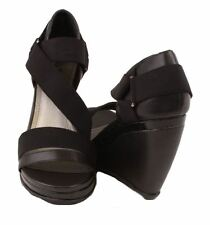 Kenneth Cole Reaction Perfect Lee Womens Black Leather/Fabric Wedge Sandals