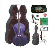 New 4/4-1/4 Size PURPLE Cello,Case,Bag,Bow+Strings+2 Stands,Tuner,Rosin,Mute