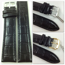 HQ BLACK 22mm 24mm ITALY GLOSSY CROC GRAIN LEATHER WATCH BAND STRAP w/CLASP