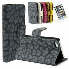 Flip Hard For 5 IPhone Leather Good Folio Leopard Hot Case Cover ID Card Wallet