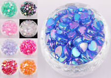 200pcs Heart Shaped Acrylic Spacer Beads AB Color Charms Making Jewelry 4x8mm