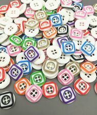 Mix-color square Pattern Resin Buttons Sewing Crafts scrapbooking 13mm