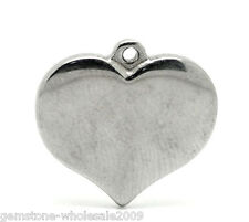 Wholesale Lots Silver Tone Stainless Steel Heart Charm Pendants 17mmx16mm