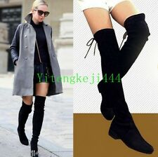 US Size Women Slim Leg Cow Leather Over the Knee Flat Boots Thigh High Booties