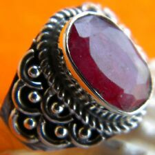 925 Sterling Silver Handmade Ruby Ring, Silver Ruby Ring, Jaipur Ruby Ring