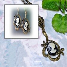 Necklace Earrings Set, Black and white cameo antique bronze, clip on or pierced