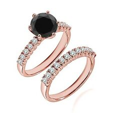 1.25 Ct Black Diamond Fancy Wedding Anniversary Solitaire Ring Bnad Rose Gold