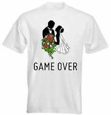 Game Over Wedding Marriage Couple Bride Groom Flowers Bouquet Funny Mens T shirt