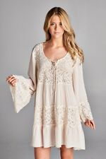 Sexy BabyDoll BoHo Gypsy Lace Sleeves Ivory White Mini Dress Tunic Shirt S M L