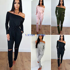 New Women One Shoulder Boho Evening Party Playsuit Long Jumpsuit Romper Clubwear