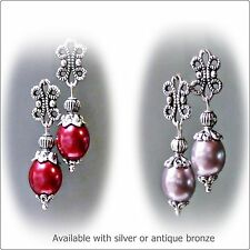 Earrings, Red or Lavender blush, Pearl petite drop, clip on or pierced