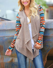 Vintga Women Cotton Blend Casual Printing Long Sleeve Cardigan Tops Coat Blouse
