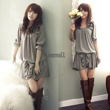 Women New Fashion Sleeves Demitoilet Chiffon Ruffle Bowknot Mini Dress Hot LM