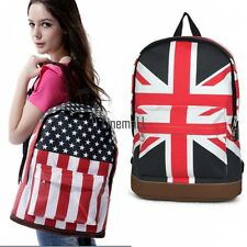 Girl Boy Campus Backpack School Book Shoulder Bag Flag Canvas Backbag LM