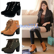 Womens Lace Up Faux Suede Mid High Block Heel Platform Ankle Boots Buckle Shoes