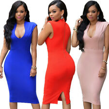Women Sexy Bodycon Bandage V-Neck Sleeveless Evening Cocktail Party Pencil Dress