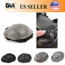 GEX Toupee Mens Hairpiece NG Ultra Thin Skin PU Black With Gray Human Remy Hair