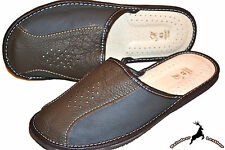 Mens 100% Genuine Leather House Slippers Shoes Sandals Handmade In Poland Scuff