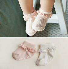 2Pairs Baby Girls Toddler Infant Cute Lace Soft Non-Slip Cotton Socks