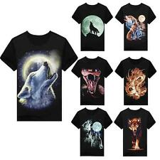 Hot Unisex 3D Wolf Snake Chinese Dragon Print Short Sleeve T Shirt Clothing