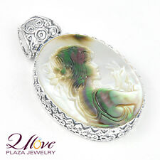Blazing Genuine Carved Cameo Shell PERFECT QUEEN 925 Sterling Silver Pendant