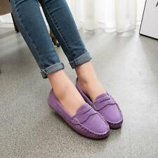 D94 Womens Rubber Sole OL Driving Solid Suede Moccasin Casual Loafer Flats Shoes