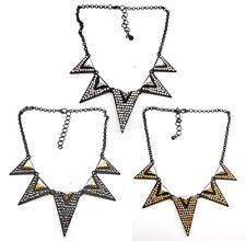 Yellow Gun Black Silver Plated Alloy Rhinestone Triangle  Choker Necklace