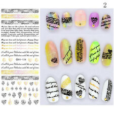 3D DIY Water Transfer Nail Art Wraps Butterfly Stickers Decals Tips Decors