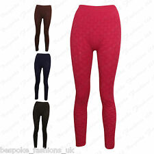 Ladies Women's Full Length Textured Stretchy Nylon Leggings Pants One Size 6-12
