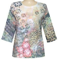 3/4 Sleeves newsprint sublimation Scoopneck Top size S-M-L-XL-1X-2X-3X