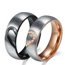 Simple Style Titanium Round Shape Stainless Steel Rings Engagement Couple Rings