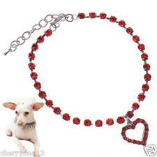 Cute Crystal Cat Collar and Tag Necklace with Heart shape Charm
