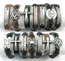 Wholesale Lots 12/36/50/100pcs Alloy Hemp Cuff Genuine Leather Bracelets