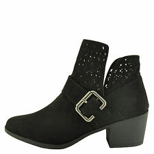 Qupid Rover 05 Black Women's Western Perforated Stacked Heel Booties