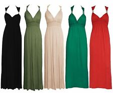 Ladies SHIRRED COIL STRAP MAXI womens full length dress size 10-12