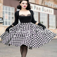 Women's Retro A Line Flared Skater High Waist Pleated Cocktail Party Long Skirts