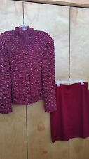 St. John Collection 2pc suit jacket skirt RED Multi 10 12 14 L XL  FREE SHIPPING