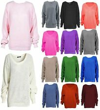 Womens Ladies Baggy Chunky Knitted Long Sleeve Oversized Sweater Jumper Top 8-14