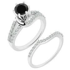 1 Carat Black Diamond By Pass Solitaire Wedding Bridal Ring Band 14K White Gold