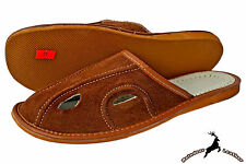 Men's Comfortable Real Suede Leather Brown Indoor Slippers Shoes Sandal Slip On
