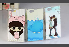 Pattern Hard Plastic Cover Case Skin For Sony Xperia Z1 Compact M51w With Film