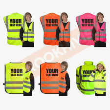 CUSTOM PRINT KIDS HI VIZ VIS PERSONALISED WAISTCOAT VEST TABARD JACKET CHILD