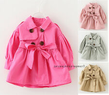 Baby Girls Trench Coat Jacket Double-breasted Windbreaker Outerwear With belt