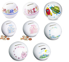 Personalised Childrens Ceramic Money Boxes Gift New Baby Boys Girls Christenings