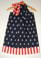 Red white blue Fourth of July pillowcase Dress handmade all seasons, 100%cotton