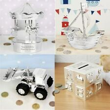 Personalised Engraved Silver Plated Moneyboxes For Boy Girl Kids Gift New Born
